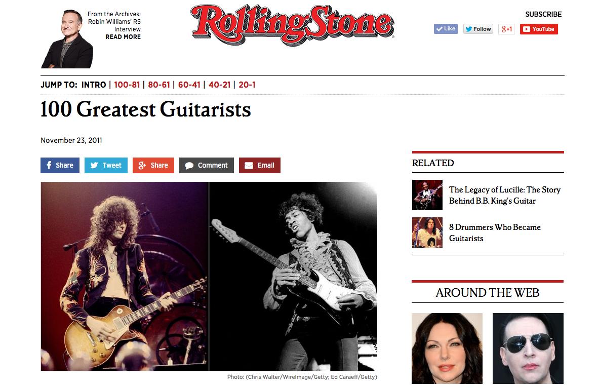 ローリング・ストーン誌が選ぶ「もっとも偉大な100人のギタリスト」改訂版(2011年)