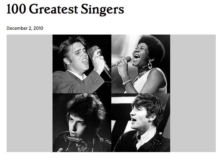 ローリング・ストーン誌が選ぶ「もっとも偉大な100人のシンガー」(2010年 )